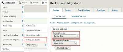 Backup and Migrate install process